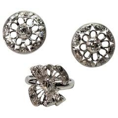 Antique Platinum Diamond Earring and Ring Suite