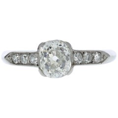 Antique Platinum Diamond Engagement Ring 'GIA Certified'