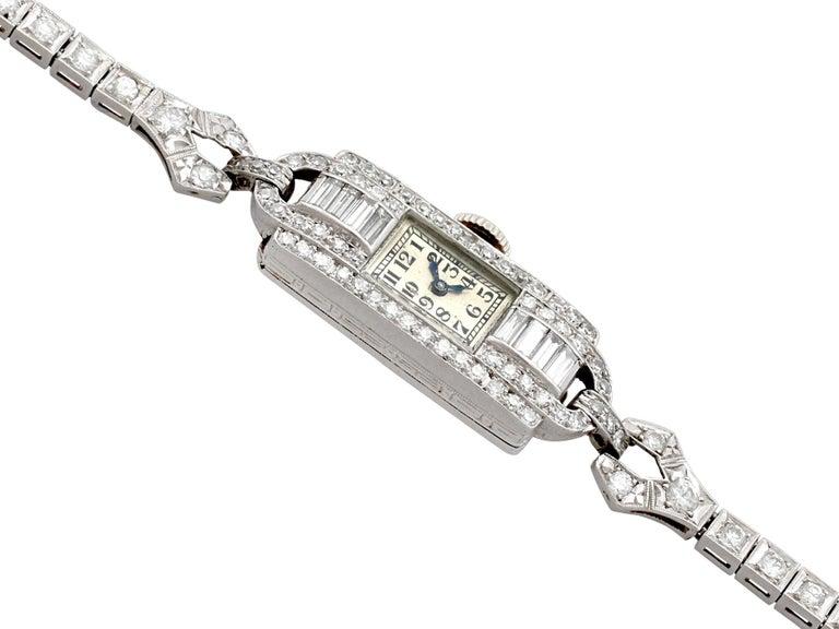 Round Cut Antique Platinum Diamond Manual Wind Cocktail Wristwatch For Sale