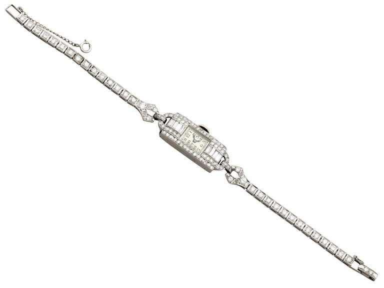 Antique Platinum Diamond Manual Wind Cocktail Wristwatch In Excellent Condition For Sale In Jesmond, Newcastle Upon Tyne
