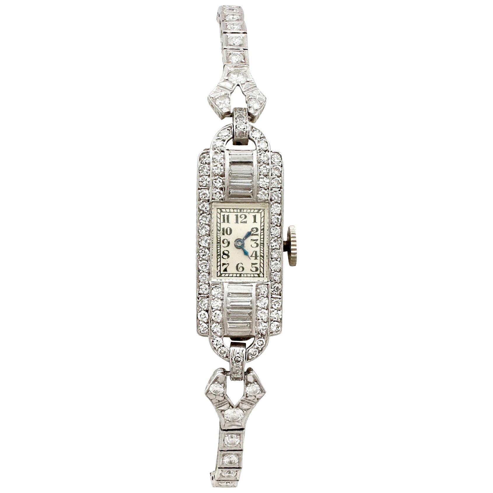 Antique Platinum Diamond Manual Wind Cocktail Wristwatch