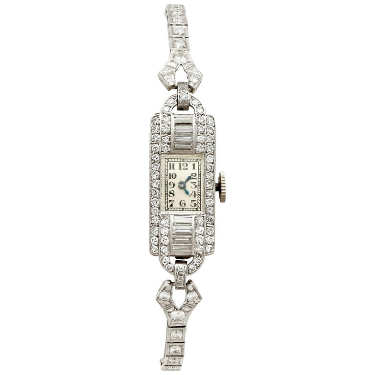 Antique Platinum Diamond Manual Wind Cocktail Wristwatch For Sale