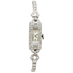 Antique Platinum Diamond Manual Wind Cocktail Wristwatch