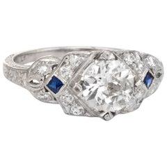 Antique Platinum Diamond Ring Art Deco 1.24 Carat Vintage Fine Jewelry