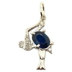 Antique Platinum Diamond Sapphire Stork Charm