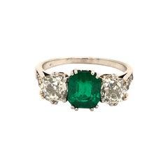 Antique Platinum Emerald Diamond Ring