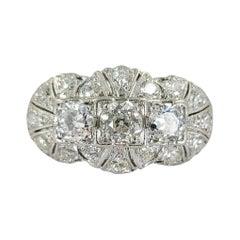 Antique Platinum & European Cut Diamond Ring