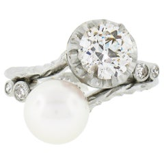 Antique Platinum GIA 1.36ct European Diamond Cultured Pearl Textured Bypass Ring