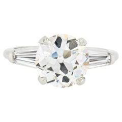 Antique Platinum GIA 2.75ct European Diamond Solitaire 3 Stone Engagement Ring