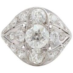 Antique Platinum GIA Old European Cut Diamond Ring, 3.58 Carat