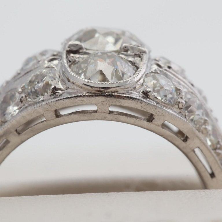 Antique Platinum Gia Old European Cut Diamond Ring 3 58 Carat For Sale At 1stdibs