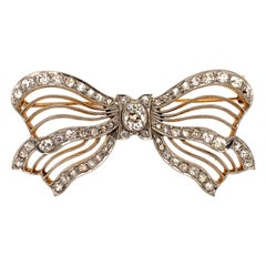 Antique Platinum, Gold and Diamond Bow Pin
