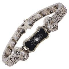 Antique Platinum & Gold Filigree Diamond Onyx & Sapphire Bracelet