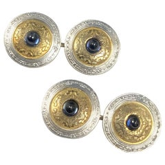 Antique Platinum Gold Sapphire Cufflinks Wordley Allsorp Bliss