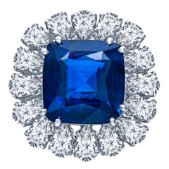 Antique Platinum GRS Certified 14.13 Carat Vivid Blue Sapphire and Diamond Ring