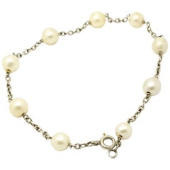 Antique Platinum Natural Pearl Bracelet