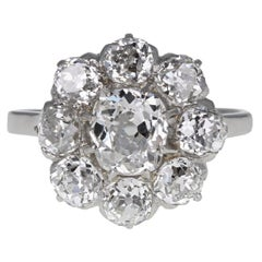 Antique Platinum Old Cut Diamond Daisy Cluster Ring