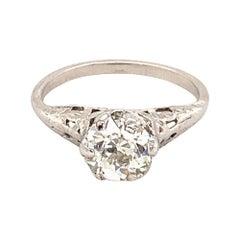 Antique Platinum Old Cut Diamond Engagement Ring 1.01 Carat