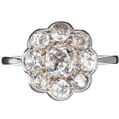 Antique Platinum Old Mine Cut Diamond Daisy Cluster Ring