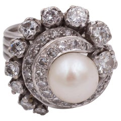 Antique Platinum, Pearl and Round Cut Diamond Ring, 1940s
