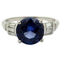 Antique Platinum Round Sapphire and Baguette Diamond Fashion Statement Ring