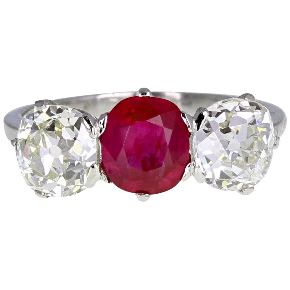 Antique Platinum Ruby Diamond Three-Stone Trilogy Ring