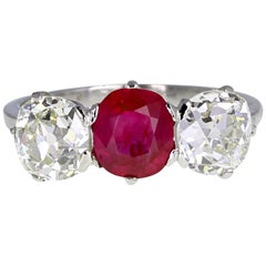 Antique Platinum Ruby Diamond Three-Stone Trilogy Ring