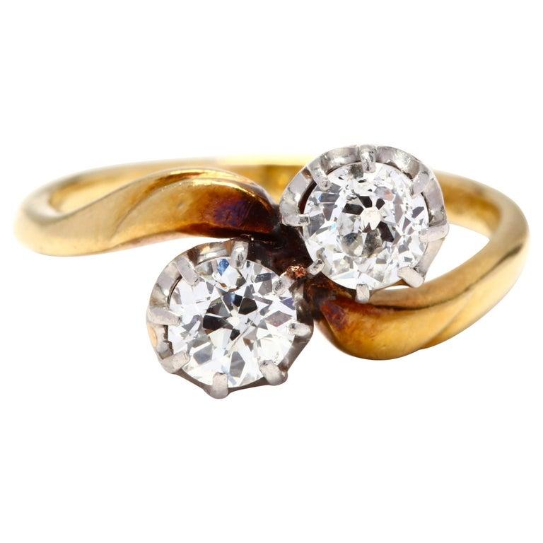 Antique Platinum Topped 18 Karat Gold Diamond Ring For Sale