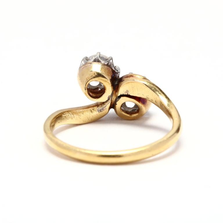 Victorian Antique Platinum Topped 18 Karat Gold Diamond Ring For Sale