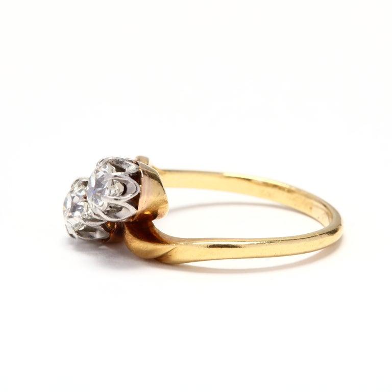 Old European Cut Antique Platinum Topped 18 Karat Gold Diamond Ring For Sale