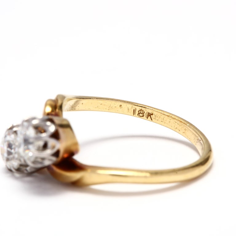 Antique Platinum Topped 18 Karat Gold Diamond Ring In Good Condition For Sale In McLeansville, NC