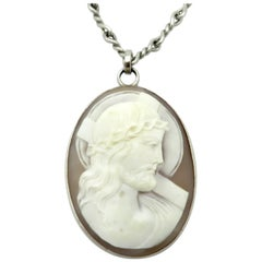 Antique Platinum Twisted Chain with Religious Carved Jesus Shell Cameo Pendant