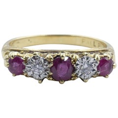 Antique Platinum and Yellow Gold Ruby and Diamond Band Ring