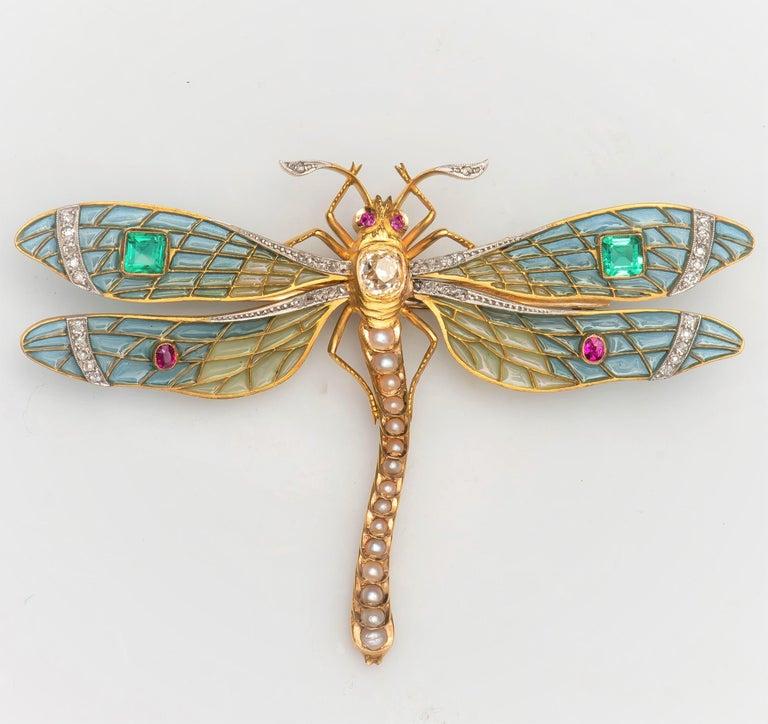 Cushion Cut Antique-Style Plique à Jour Dragonfly Brooch, 0.90 Carat Old Miner Diamond, Gems For Sale