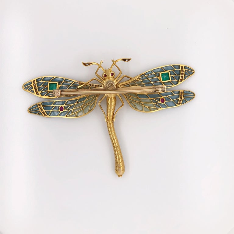 Antique-Style Plique à Jour Dragonfly Brooch, 0.90 Carat Old Miner Diamond, Gems In Good Condition For Sale In Houston, TX