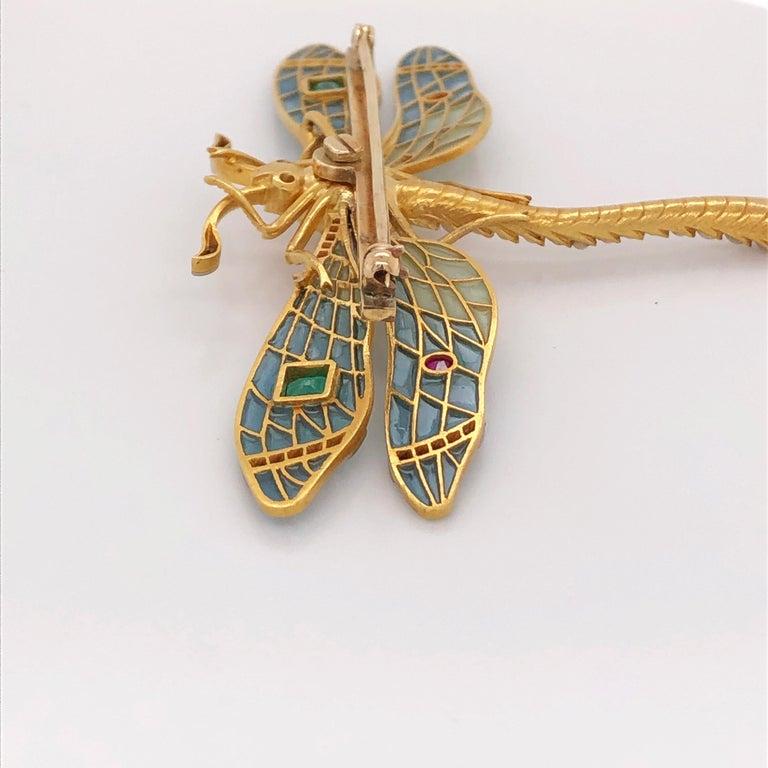 Women's or Men's Antique-Style Plique à Jour Dragonfly Brooch, 0.90 Carat Old Miner Diamond, Gems For Sale