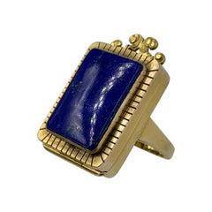 Antique Poison Ring Locket Ring Lapis Lazuli 14 Karat Gold