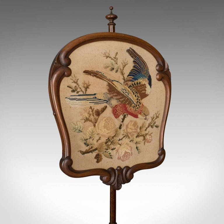 Antique, Pole Screen, English, Victorian, Fire, Needlepoint, Tapestry circa 1850 For Sale 1