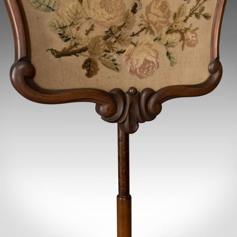 Antique, Pole Screen, English, Victorian, Fire, Needlepoint, Tapestry circa 1850 For Sale 3