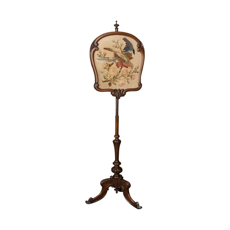 Antique, Pole Screen, English, Victorian, Fire, Needlepoint, Tapestry circa 1850 For Sale