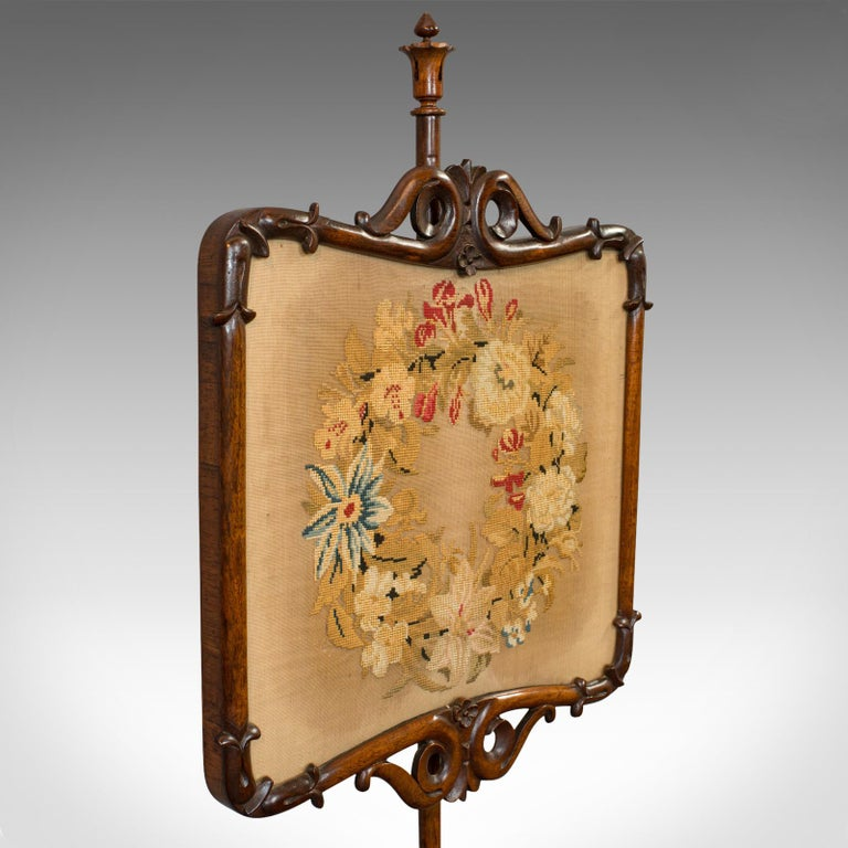 Antique Pole Screen, Rosewood, Needlepoint Tapestry, Fire Screen, Regency, 1820 For Sale 5