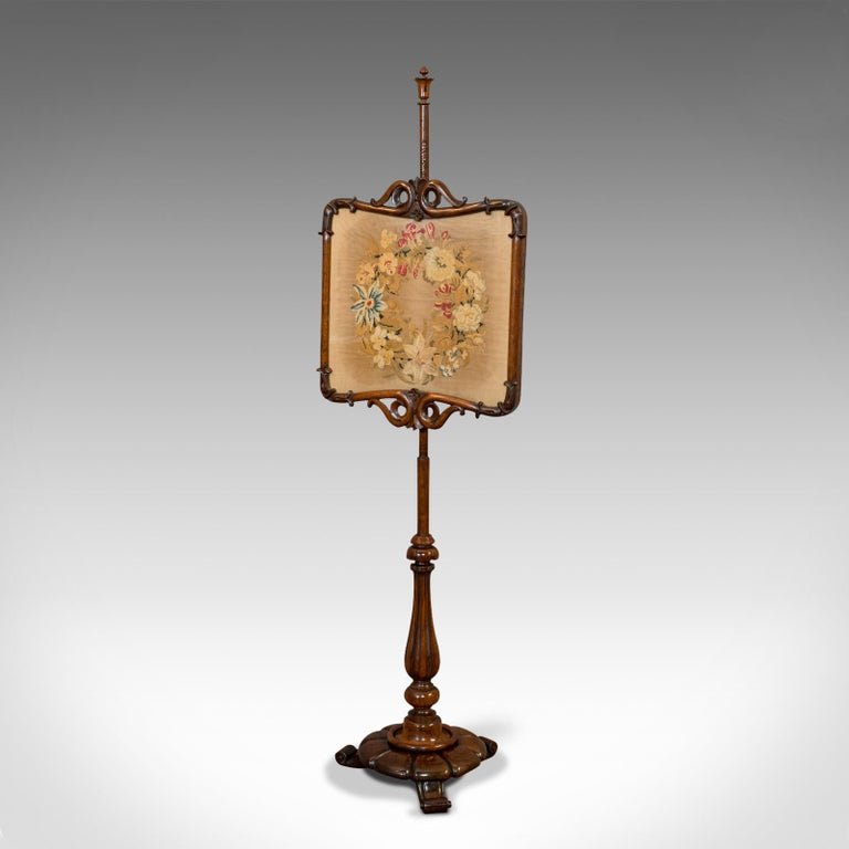 British Antique Pole Screen, Rosewood, Needlepoint Tapestry, Fire Screen, Regency, 1820 For Sale