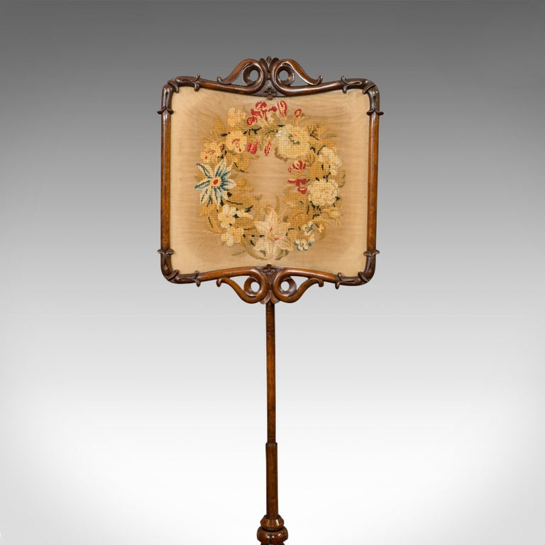 Antique Pole Screen, Rosewood, Needlepoint Tapestry, Fire Screen, Regency, 1820 For Sale 3