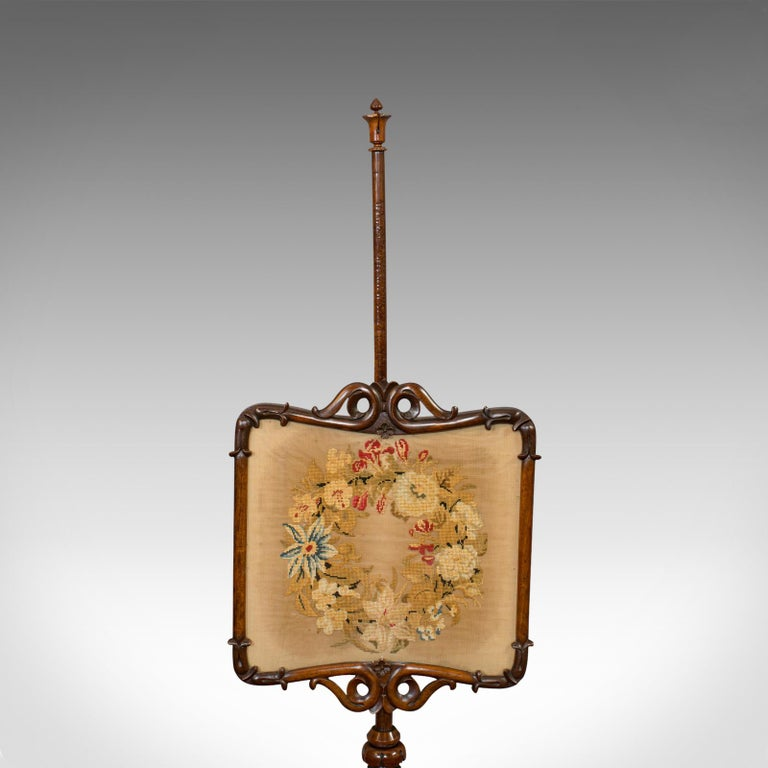 Antique Pole Screen, Rosewood, Needlepoint Tapestry, Fire Screen, Regency, 1820 For Sale 4