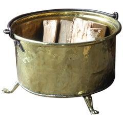 Antique Polished Brass French Log Holder or Log Basket, 18th-19th Century