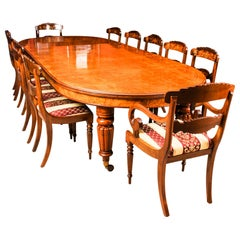 Antique Pollard Oak Victorian Dining Table 19th Century and 12 Bespoke Chairs