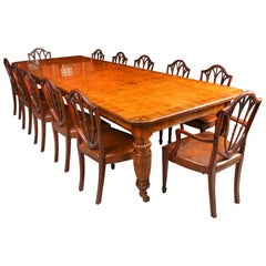 Antique Pollard Oak Victorian Extending Dining Table & 12 Chairs, 19th Century