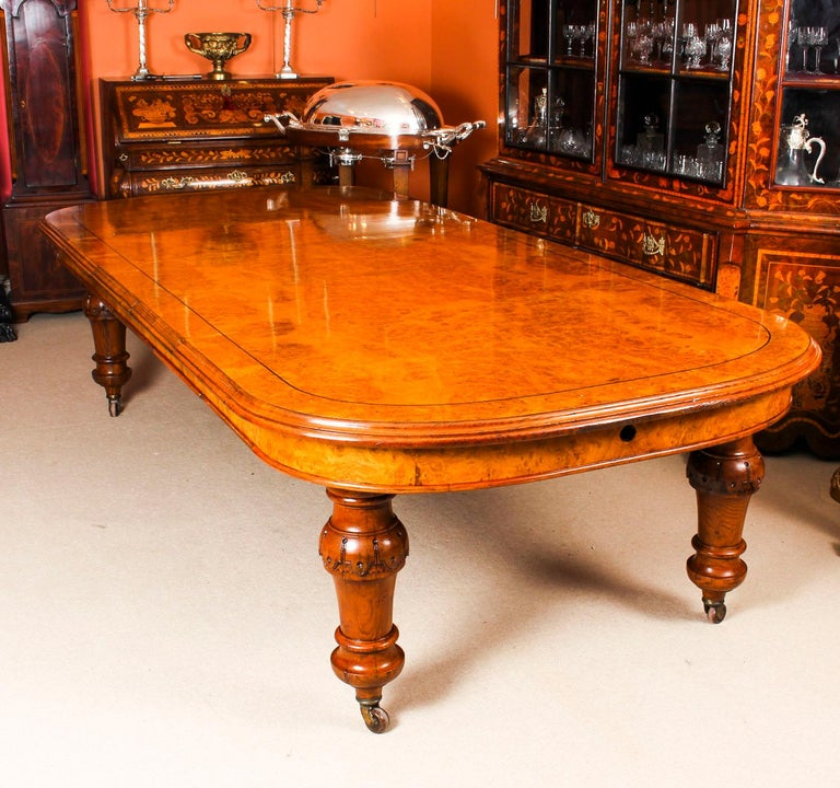 English Antique Pollard Oak Victorian Extending Dining Table 19th Century and 10 Chairs