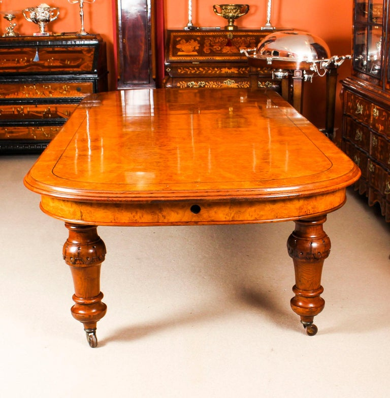 Marquetry Antique Pollard Oak Victorian Extending Dining Table 19th Century and 10 Chairs