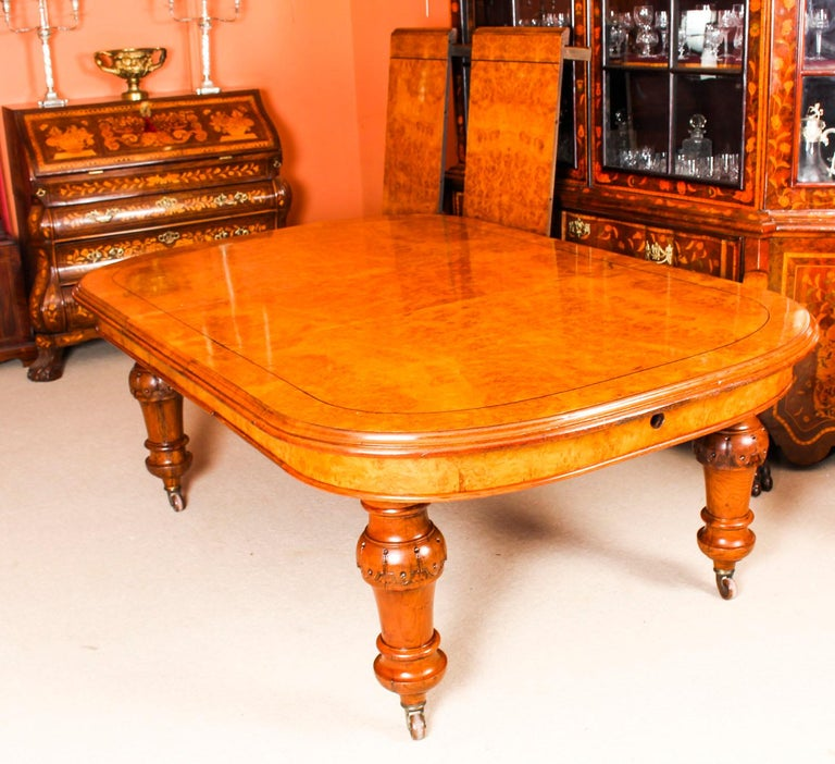 Mid-19th Century Antique Pollard Oak Victorian Extending Dining Table 19th Century and 10 Chairs